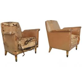 Set of Two Octavio Vidales Distressed Leather Chairs for Muebles Johrvy