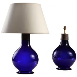 Pair of Early 20th Century Imperial Blue Glass Table Lamps