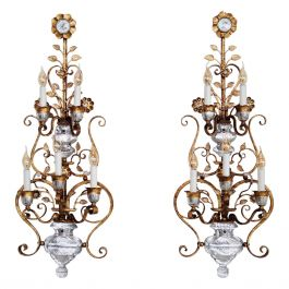 Italian Florentine Crystal and Gilt Iron Wall Sconces by Banci Florence, 1960s