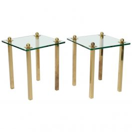 Midcentury Modern Regency Pair of Brass with Glass Side Tables