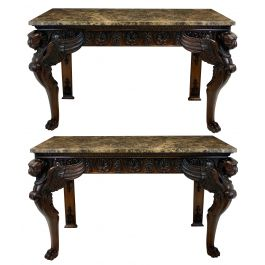 A Pair Of Large English Mahogany & Marble Top Console Tables