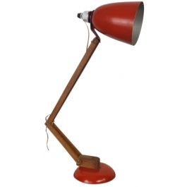 Vintage Maclamp In Red With Wooden Arms