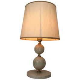 TRAVERTINE AND BRASS TABLE LAMP