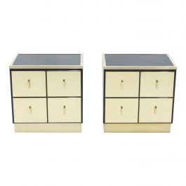 Pair of Italian Luciano Frigerio Black Lacquered Brass Nightstands Tables,