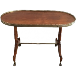 NEOCLASSICAL WOOD AND BRASS OVAL COFFEE TABLE