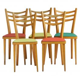 Five French Midcentury Dining Chairs c1950-1960