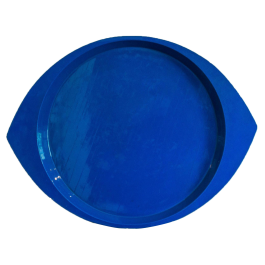 A LARGE BLUE LACQUERED EYE-SHAPED TRAY BY JENS QUISTGAARD (1919 - 2008)