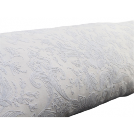 Bolsters - Antique French Pale Blue on White Cornely Embroidery Panel on Linen Bolster PB86
