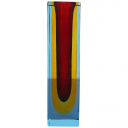 Heavy Large murano Glass Sommerso Vase Designed by Flavio Poli, Italy, 1970s