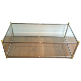 CHROME AND GILD METAL COFFEE TABLE. FRENCH. 1970'S