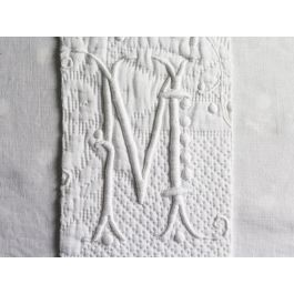 M Medium Bolster Cushion - Antique French M Monogram on Linen PMB25