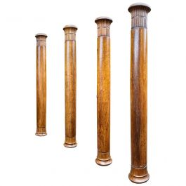 Set of Four Oak Columns from the Mid-Late 19th Century