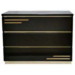 Chocolate Brown Lacquer Brass Chest of Drawers by J.C. Mahey, 1970s