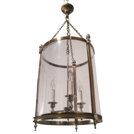 BRASS & SILVER LANTERN WITH PLASTIC FAUX-GLASS
