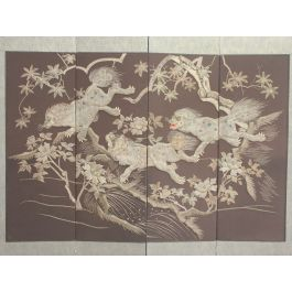 A Meiji Period Silverwork Embroidered Four Panel Screen Depicting Mythical Shishi