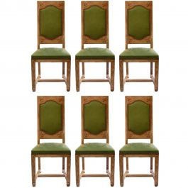 Six Arts and Crafts Dining Chairs French Limed Oak Leather to Recover