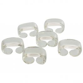 Mid-Century Modern Set of 6 Depression Glass Napkin Rings