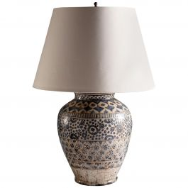 19th Century Persian Glazed Pottery Blue and White Vase as a Table Lamp
