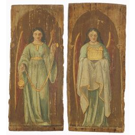 UnknownPair 18th Century Paintings Angels on Wood Panels Naive French Provincial Churchc1780-90
