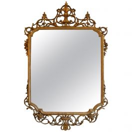 Late 19th Century Gold Gilt Italian Neoclassical Carved Wood Mirror
