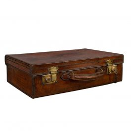 Antique Travel Case, English, Leather Banker's Suitcase, Edwardian, circa 1910
