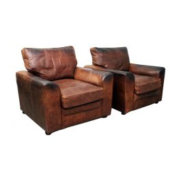 Pair of Very Large Vintage Brown Leather Armchairs
