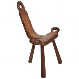 Mid-Century Mexican Modernist Tripod Wood Chair after Don Shoemaker