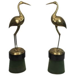 Pair Of Important And Decorative Brass Ibis