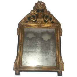 Restauration Period Gilt And Green Painted Mirror