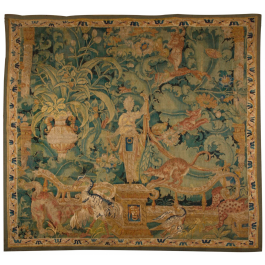 A LATE 16TH CENTURY FLEMISH FEUILLES DE CHOUX TAPESTRY