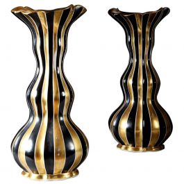 Pair of Black and Gold Napoleon III Period Double Gourd Vases