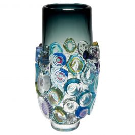 Bright Field High Shape with Green Diamonds, a Glass vase by Sabine Lintzen