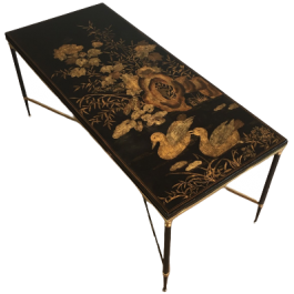 Gun Metal & Brass Coffee Table With Lacquered Top