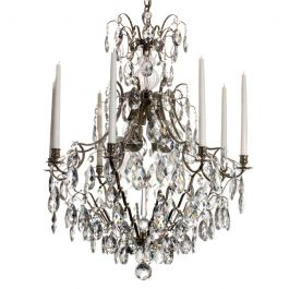 Baroque Crystal Chandelier: Nickel plated large 8 arm with almond crystals