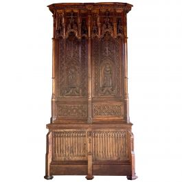 15th Century French Style Gothic Revival Oak Cupboard Heavily Carved, circa 1850