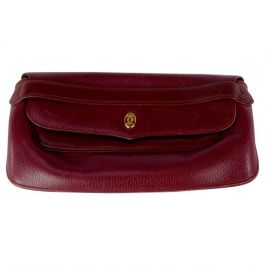 Cartier Red Bordeaux Leather Must de Cartier Clutch Bag