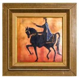 Enamel Art Modern Majestic King on Regal Horse, Holland
