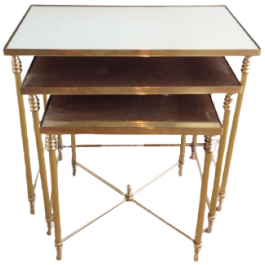 SET OF 3 BRASS NESTING TABLES WITH MIRROR TOPS