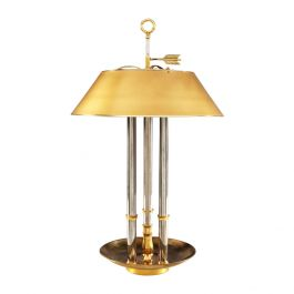 A Steel And Brass Bouillotte Lamp After Maison Jansen Of Large Scale