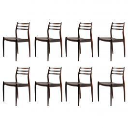 1950s Niels Moller Eight Reupholstered Model 78 Dining Chairs in Rosewood