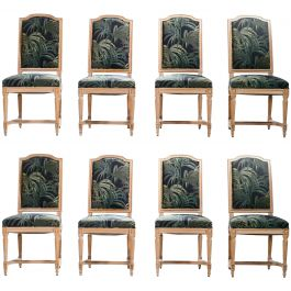 Set of Eight Louis XV Style Chairs, 1950s