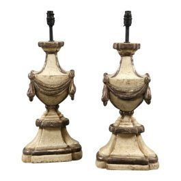 Pair of Modern Hand Carved Urn Table Lamps