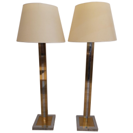 Bicolor Floor Lamps in the Style of Willy Rizzo, 1970s, Set of 2