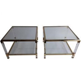 Pair of Perspex Side Tables, France, Midcentury Modern