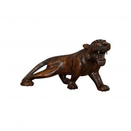 Antique Carved Tiger, Asian, Teak, Decorative Statue, 20th Century, circa 1920