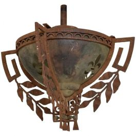 1930s Forged Iron And Stainless Steel Pendant Light