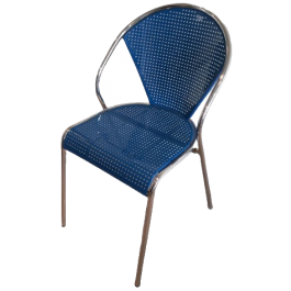 Set Of 4 Chrome And Blue Perforated Metal Chairs