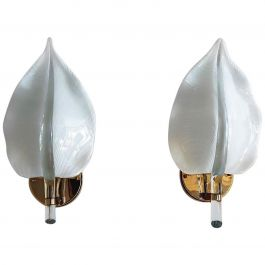 Italian Murano Glass Leaf and Brass Wall Sconces or Wall Lights, 1970s