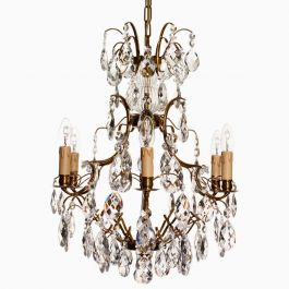 Baroque Six Arm Brass Chandelier with Immitation Candles