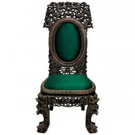Finely Carved 19th Century Chinese Chair in Emerald Silk